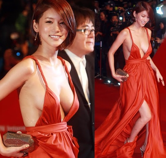 oh in hye korea actress breasts red dress