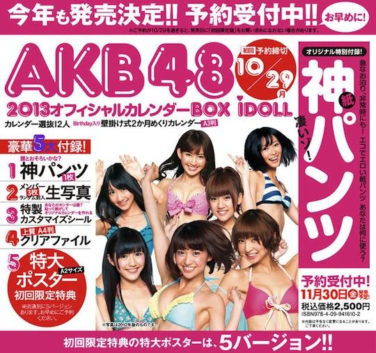 akb48 idol calendar 2013 panties underwear