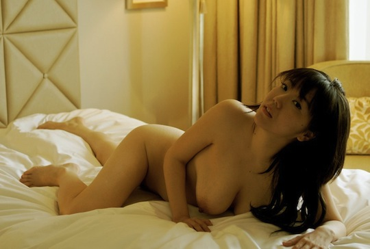sexy japanese girl naked nude bed big breasts tits