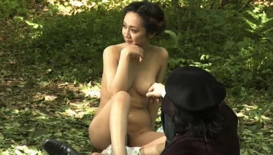 Nude female on balcany
