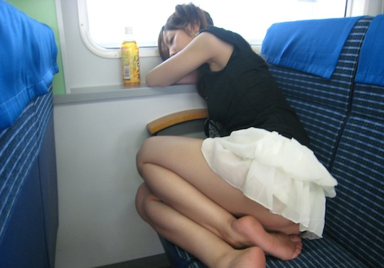 Asian girl on train