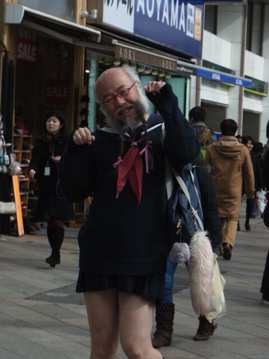 hideaki kobayashi japan old guy cross dress cosplay schoolgirl uniform sailor suit