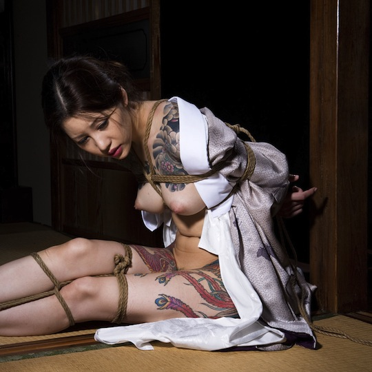 shibari japanese rope bondage girl tattoo sexy tied up hot body