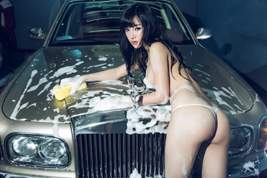 han zi xuan underwear lingerie washing car chinese model