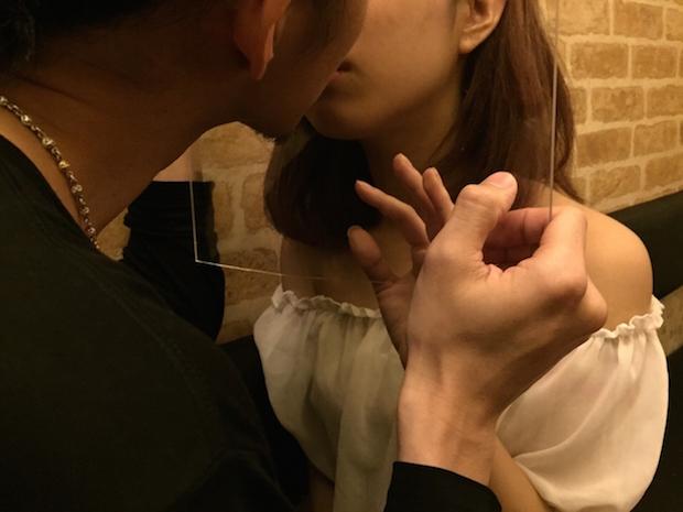 kiss day japan acrylic plastic panel club aoyama edition tokyo event couples