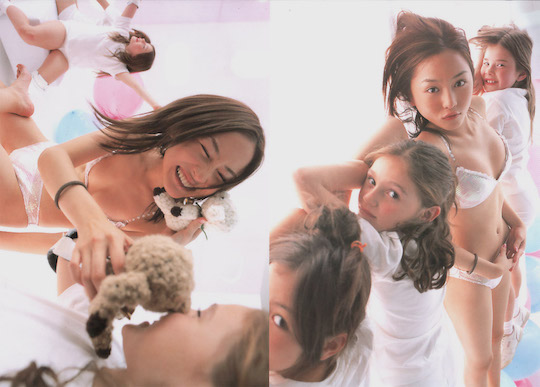anzu sayuri playing with children stuffed toys
