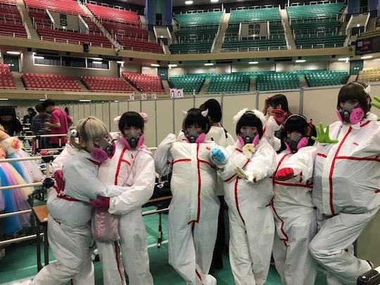 cy8er idols music meet greet hug otaku fans event hazmat tokyo suits