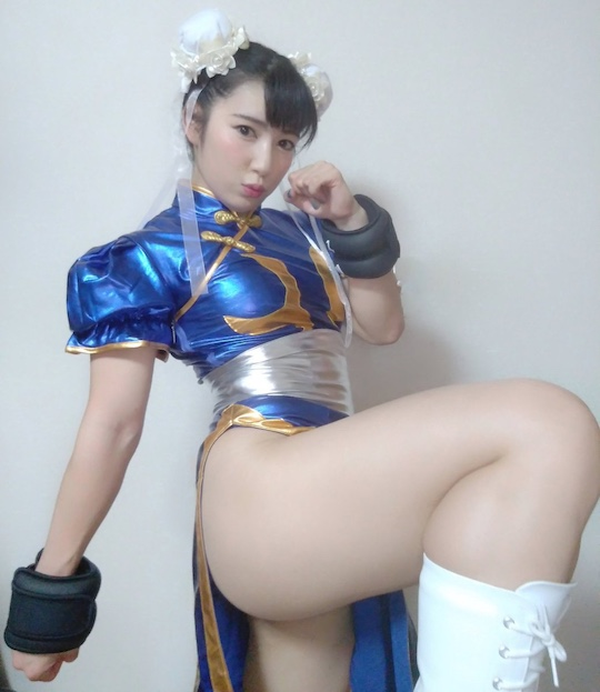 chun-li street fighter cosplay fetish femdom fantasy hot japanese model gravure reika saiki sexy muscles
