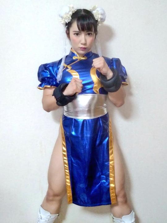 chun-li street fighter cosplay fetish femdom fantasy hot japanese model gravure reika saiki sexy muscles