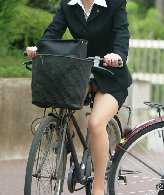 japanese office lady bicycle crotch sexy