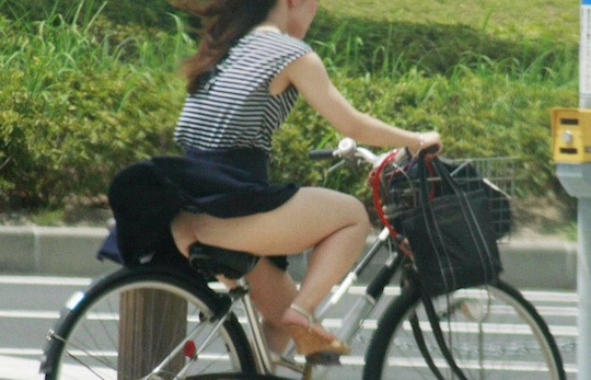 japanese woman girl sexy legs underwear nude bicycle exposed