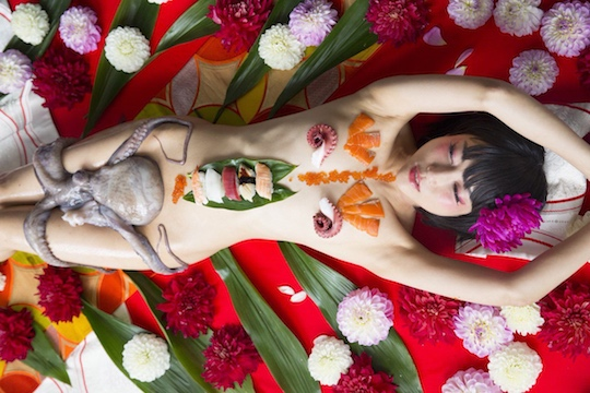 luchino fujisaki nyotaimori sushi body japanese idol fetish octopus sex fantasy