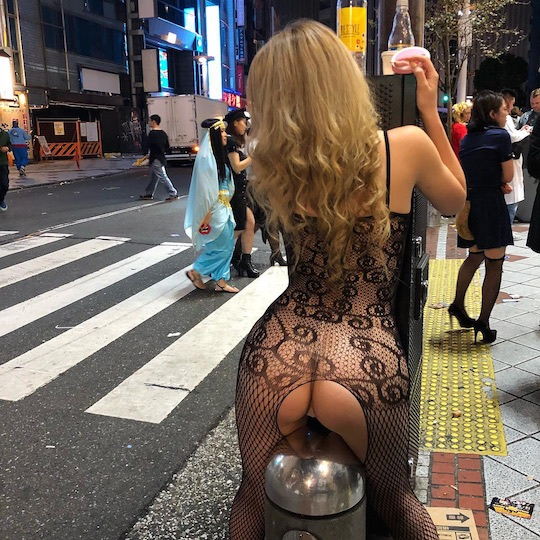 bodystocking sexy japanese gyaru halloween shibuya tokyo street party hot girl