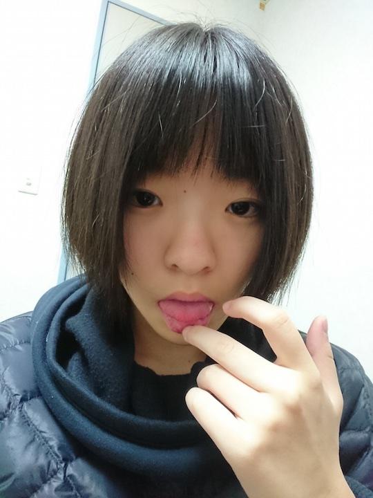 japanese girl cute high school student naked nude selfie short hair boyish body