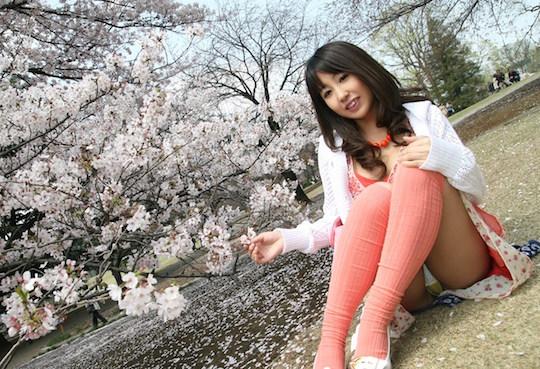 japan sakura hanami cherry blossom sexy adult hot girl naked nude panties panchira tokyo